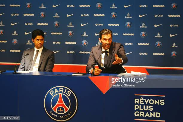 President of PSG Nasser AlKhelaifi and Gianluiggi Buffon of Paris SaintGermain answer to the media during the Italian official presentation after...
