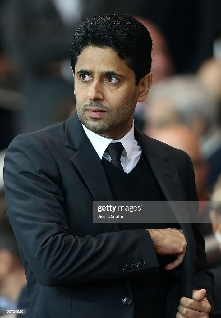 President of PSG Nasser Al-Khelaifi attends the French Ligue 1 match between Paris Saint-Germain FC and AS Monaco at Parc des Princes stadium on October 5, 2014 in Paris, France.