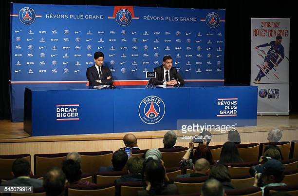 President of PSG Nasser AlKhelaifi presents Unai Emery of Spain as the new coach of Paris SaintGermain during a press conference at Parc des Princes...