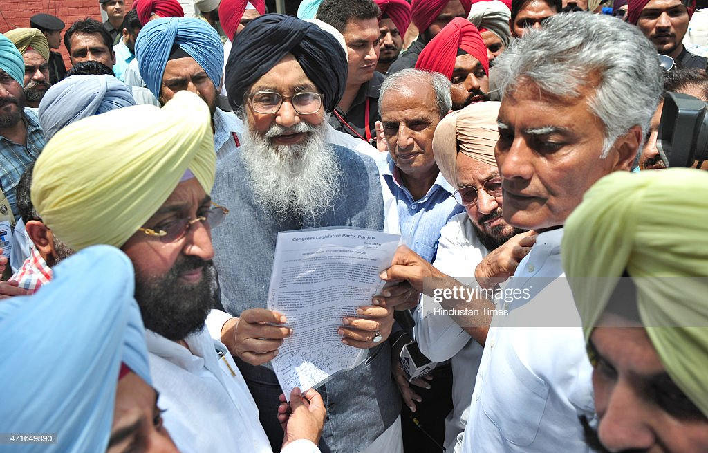 President of Punjab Congress Partap Bajwa along with leader of opposition Sunil Jakhar submitting their demand to Punjab Chief Minister Parkash Singh.