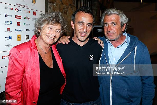 President of Ramatuelle Festival Jacqueline Franjou actor Elie Semoun and Artistic Director of the Festival Michel Boujenah pose after 'Le placard'...