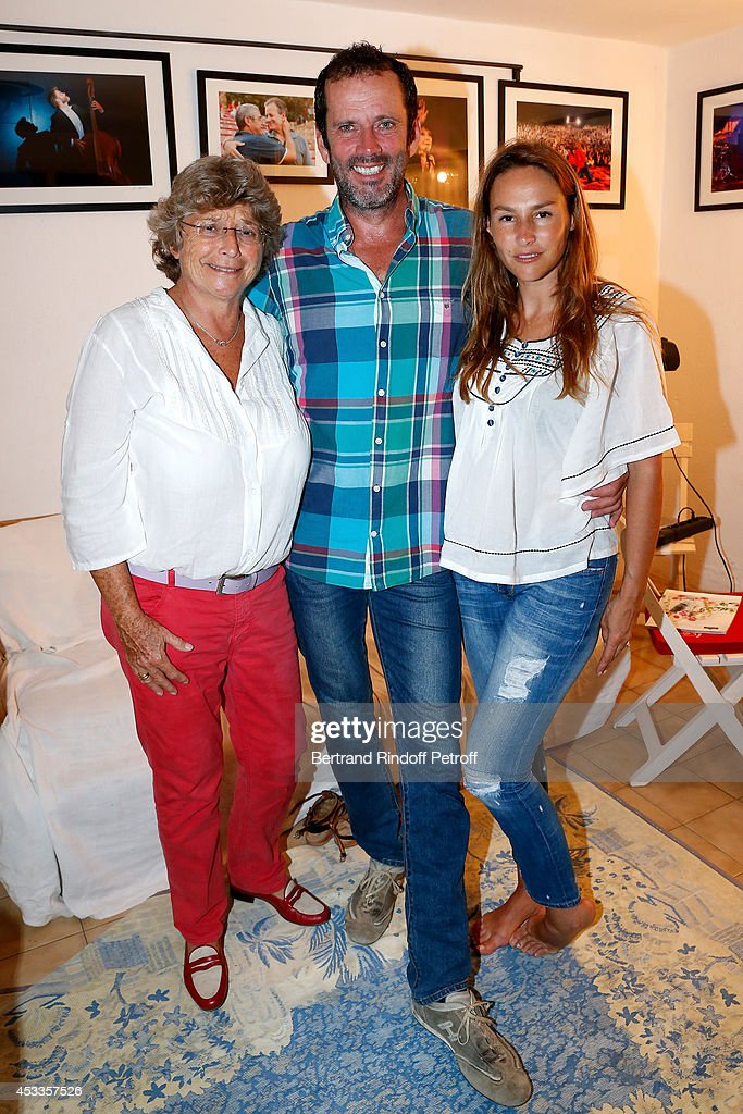 President of Ramatuelle Festival Jacqueline Franjou, actors Christian Vadim and Vanessa Demouy pose backstage after the 'L'appel de Londres' play at the 30th Ramatuelle Festival : Day 8 on August 8, 2014 in Ramatuelle, France.