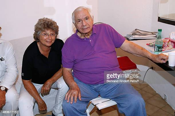 President of Ramatuelle Festival Jacqueline Franjou and Actor Michel Galabru pose Backstage after the 'Jofroi' Theater Play during the 31th...