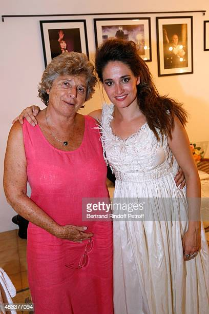 President of Ramatuelle Festival Jacqueline Franjou and actress Marie Gillain pose Backstage after the 'La Venus a la Fourrure' Theater play during...