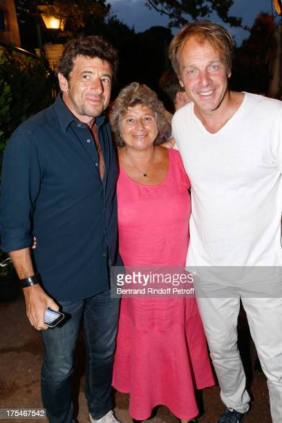 President of Ramatuelle Festival Jacqueline Franjou stands between singer Patrick Bruel and Herve Taieb 'Pianistic' Concert of singer Julien Clerc at...