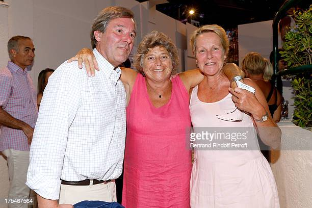 President of Ramatuelle Festival Jacqueline Franjou stans between daughter of actor Gerard Philipe AnneMarie Philipe and her husband Jerome Garcin...