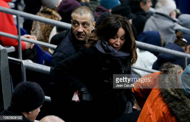 President of RC Toulon Mourad Boudjellal and his wife Linda Boudjellal attend the Guinness 6 Nations rugby match between France and Wales at Stade de...