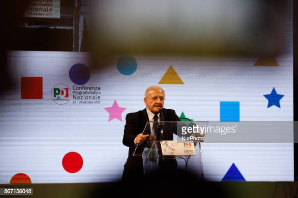 President of Region Vincenzo De Luca during National Programma Conference of PD in Naples Italy on October 27 2017