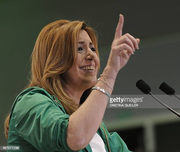 President of regional government of Andalusia and Spanish Socialist Party candidate Susana Diaz speaks during the party's closing campaign meeting in...