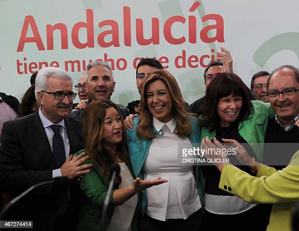 President of regional government of Andalusia and Spanish Socialist Party candidate Susana Diaz celebrates after the closing of polls in Sevilla on...