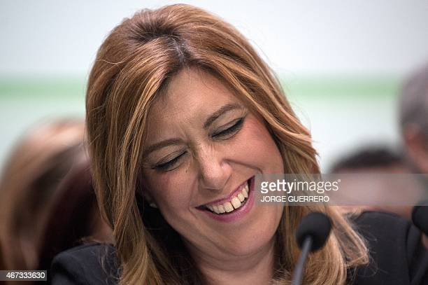 President of regional government of Andalusia and Spanish Socialist Party candidate Susana Diaz smiles during a press conference in Sevilla on March...