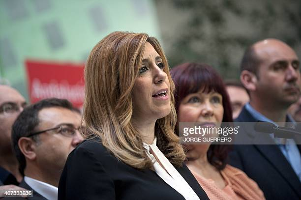 President of regional government of Andalusia and Spanish Socialist Party candidate Susana Diaz gives a press conference in Sevilla on March 23 2015...