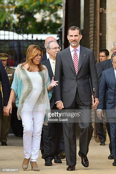 President of regional government of Andalusia Susana Diaz and King Felipe VI of Spain entering the Real Maestranza of Seville bnefore the delivers of...