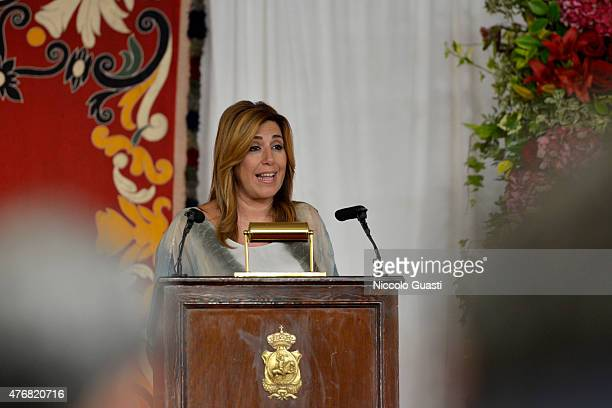 President of regional government of Andalusia Susana Diaz giving her speech during the delivers of The Royal Cavalry Armory University Awards on June...