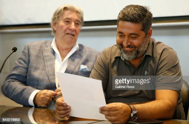 President of Regularization Committee of AFA Armando Perez and President of Boca Juniors Daniel Angelici look on during the broadcast proposals bid...