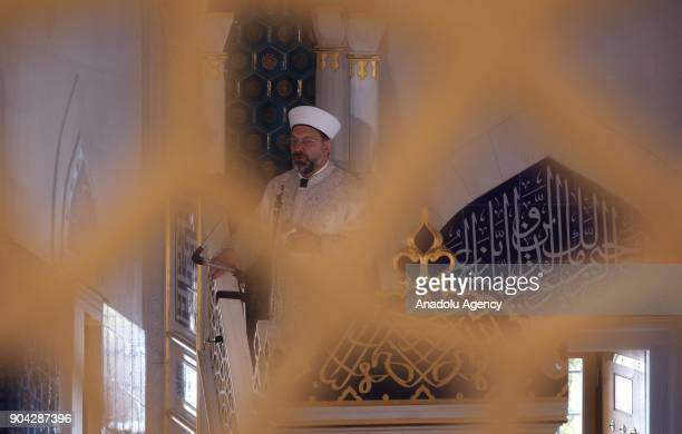 President of Religious Affairs of Turkey Ali Erbas conducts Friday sermon during Friday Prayer at The Diyanet Center of America in Maryland United...