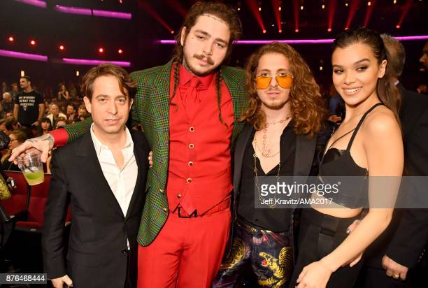 President of Republic Group Charlie Walk Post Malone Watt and Hailee Steinfield at the 2017 American Music Awards at Microsoft Theater on November 19...