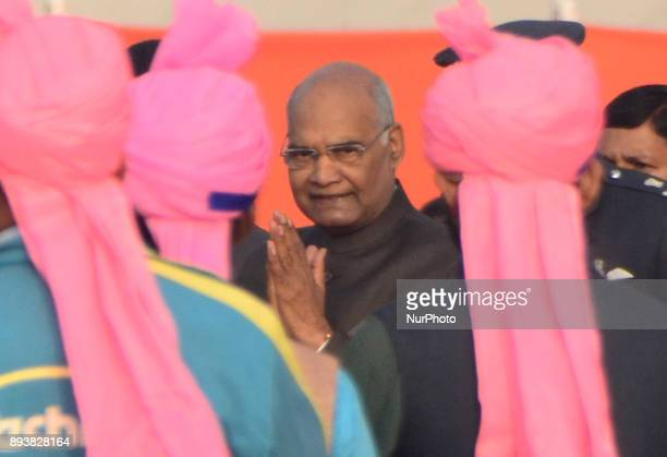 President of republic of India Mr Ram NAth Kovind arrives to take part in Morning Ganga Aarti at sangam confluence of river Ganges Yamuna and...