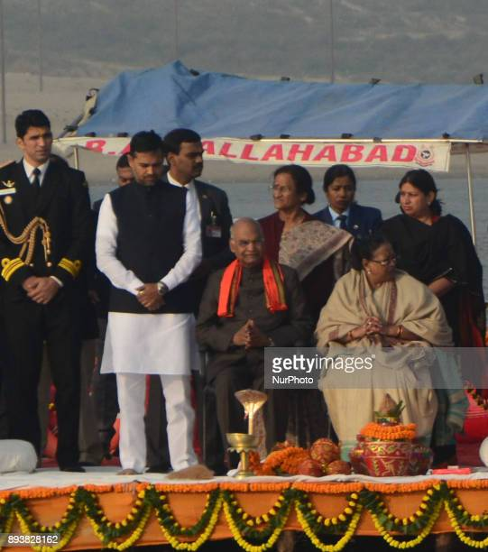 President of republic of India Mr Ram NAth Kovind with first Lady Mrs Savita Kovind take part in Morning Ganga Aarti at sangam confluence of river...