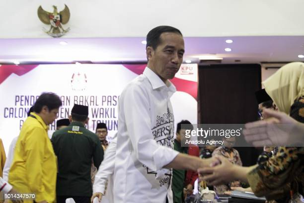 President of Republic of Indonesia Joko Widodo after he and Maruf Amin register their candidacy at the General Elections Commission office Jakarta...
