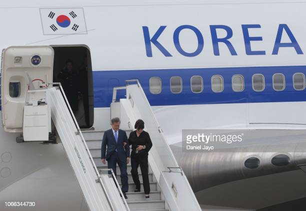 President of Republic of Korea Moon Jae-in and First Lady of Republic of Korea Kim Jung-sook get off a plane on their arrival to Buenos Aires for G20...