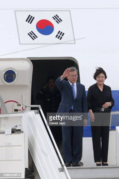 President of Republic of Korea Moon Jae-in and First Lady of Republic of Korea Kim Jung-sook wave as they get off a plane on their arrival to Buenos...
