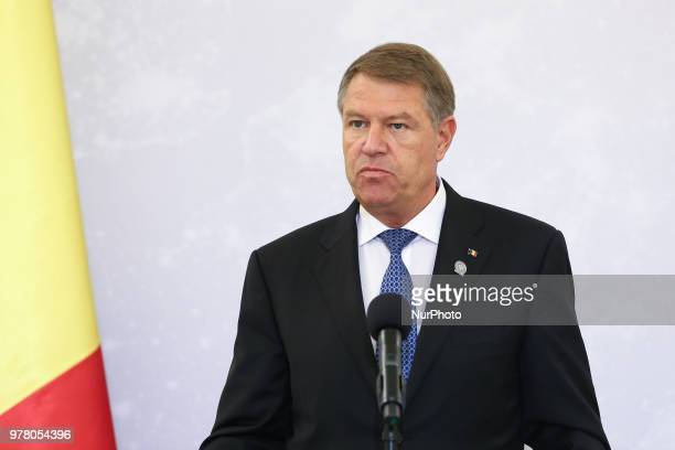 President of Romania Klaus Iohannis at a press conference during the meeting of Bucharest Nine at the Presidential Palace in Warsaw Poland on 8 June...