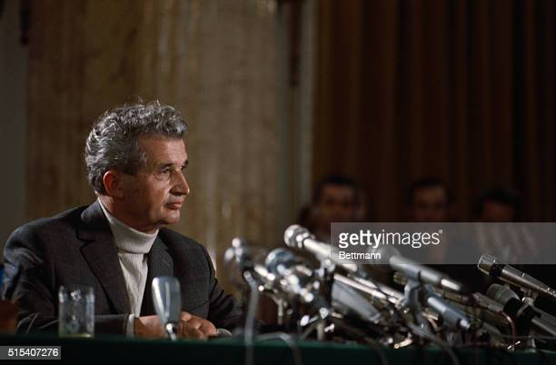 President of Romania Nicolai Ceausescu speaking during earthquake press conference