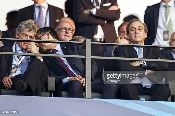 President of Royal Spanish Football Federation Angel Maria Villar Llona President of FC Barcelona Josep Maria Bartomeu UEFA President Michel Platini...