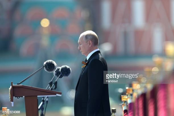 President of Russia and Commander-in-Chief of the Armed Forces Vladimir Putin makes a speech in Red Square during a Victory Day military parade...