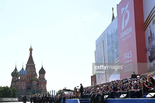 President of Russia and Commander-in-Chief of the Armed Forces Vladimir Putin delivers a speech during a Victory Day military parade marking the 75th...