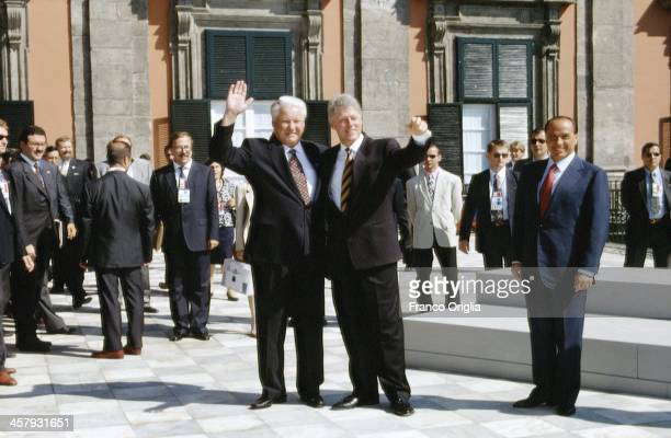 President of Russia Boris Yeltsin 42nd President of the United States Bill Clinton and Italian Prime Minister Silvio Berlusconi pose during the G7...