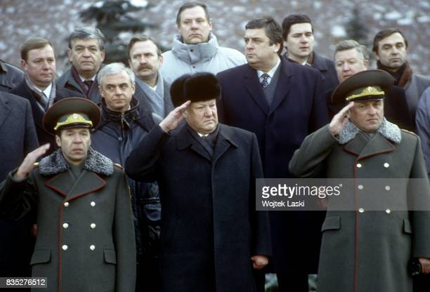 President of Russia Boris Yeltsin salutes Russian soldiers during the celebrations of Russian Army Day in Moscow, Russia, on 23rd February 1994.