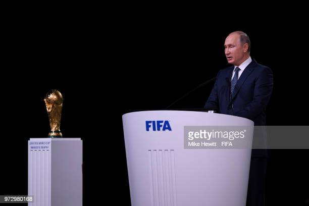 President of Russia Vladimir Putin addresses the 68th FIFA Congress at the Moscow Expocentre on June 13 2018 in Moscow Russia