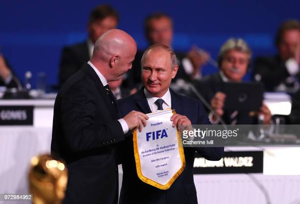 President of Russia Vladimir Putin and FIFA President Gianni Infantino during the 68th FIFA Congress at the Moscow Expocentre on June 13 2018 in...