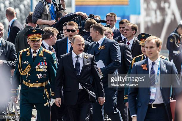 President of Russia Vladimir Putin and Minister of defense of Russia Sergey Shoigu attends the Victory Parade which is part of celebrations marking...