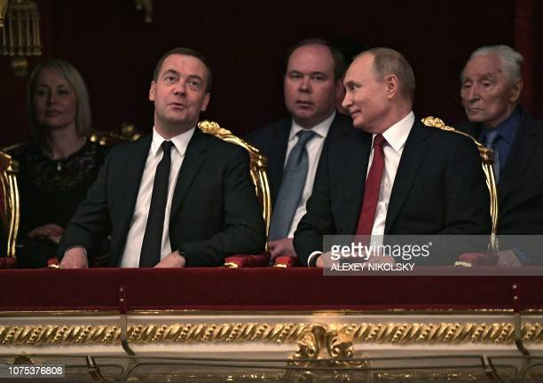 President of Russia Vladimir Putin and Prime Minister Dmitry Medvedev wait for the beginning of the Nutcracker ballet directed by Yury Grigorovich as...