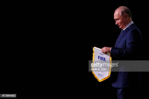 President of Russia Vladimir Putin during the 68th FIFA Congress at the Moscow Expocentre on June 13 2018 in Moscow Russia