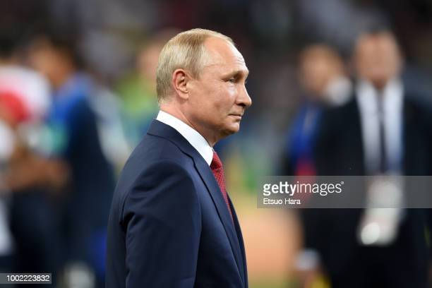 President of Russia Vladimir Putin is seen during the trophy ceremony following the 2018 FIFA World Cup Russia Final between France and Croatia at...