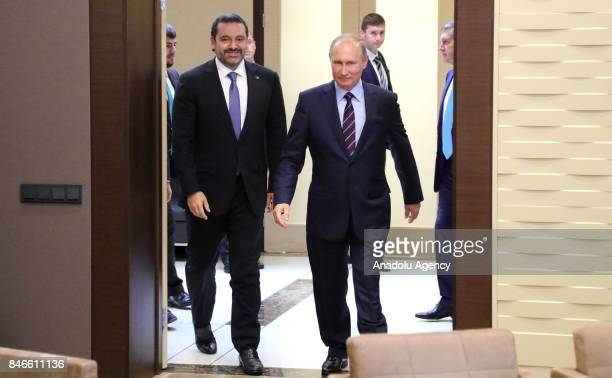 President of Russia Vladimir Putin meets with Prime Minister of Lebanon Saad Hariri in Sochi Russia on September 13 2017