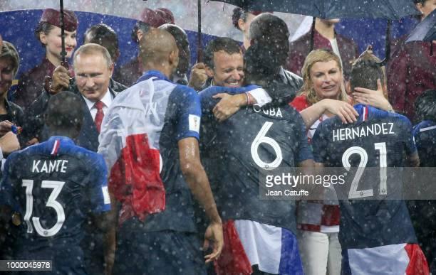 President of Russia Vladimir Putin President of France Emmanuel Macron President of Croatia Kolinda GrabarKitarovic greet N'Golo Kante Steven Nzonzi...