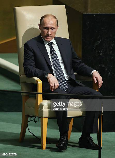 President of Russia Vladimir Putin sits after addressing the United Nations General Assembly on September 28 2015 in New York City World leaders...
