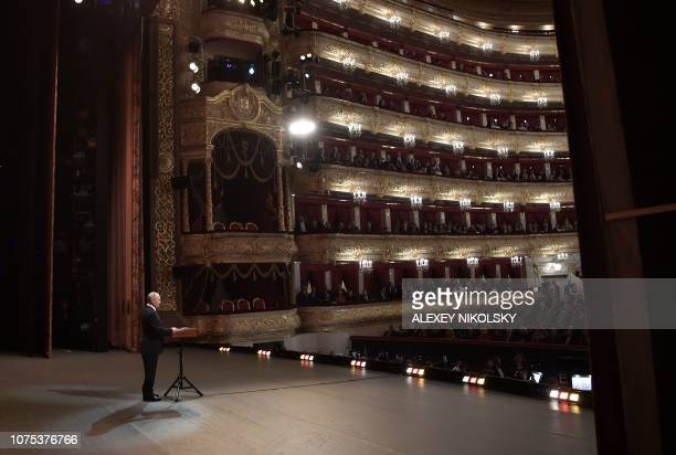 President of Russia Vladimir Putin talks to the audience before the Nutcracker ballet directed by Yury Grigorovich as part of the 2019 New Year gala...