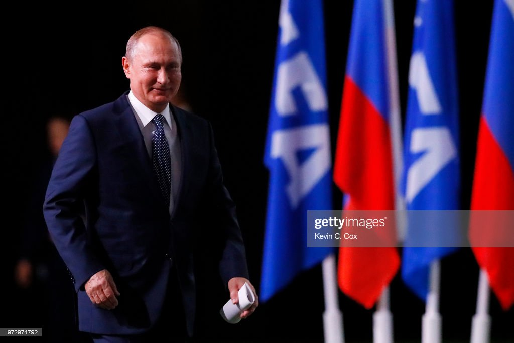 President of Russia, Vladimir Putin walks to the stage during the 68th FIFA Congress at the Moscow Expocentre on June 13, 2018 in Moscow, Russia.