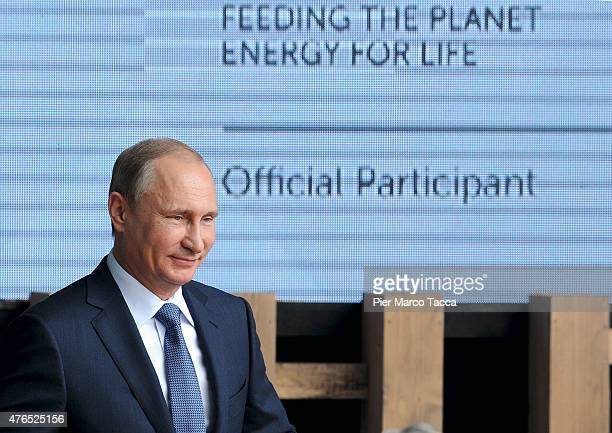 President of Russian Federation Vladimir Putin at the of his speech during the opening ceremony of the national day party of the Russian pavilion...