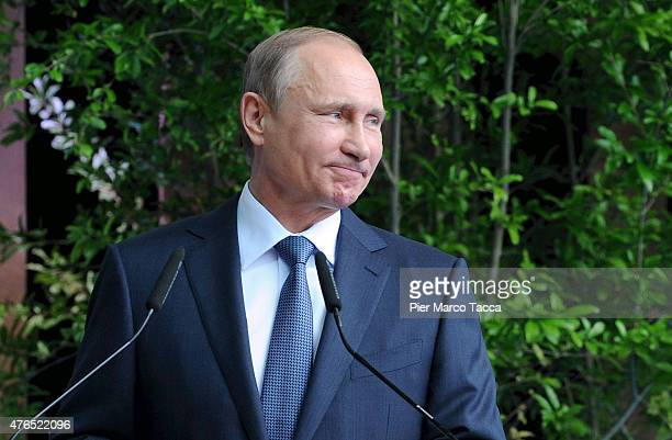 President of Russian Federation Vladimir Putin makes a speech during the opening ceremony of the national day party of the Russian pavilion during...