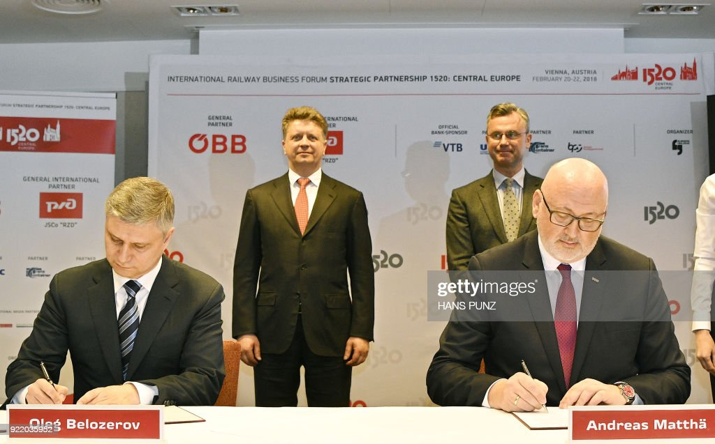 President of Russian Railways Oleg Belozerov, Russian Minister of Transport Maxim Sokolov, Austrian Minister of Transport Norbert Hofer, Austrian Federal Railways' CEO Andreas Mattha take part in a...