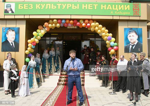 President of Russia's Chechen Republic Ramzan Kadyrov speaks during a ribbon cutting ceremony for a Grozny Department of Culture administrative...
