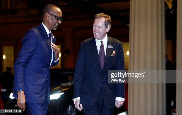 President of Rwanda Paul Kagame arrives as Prince William, Duke of Cambridge and Catherine, Duchess of Cambridge host a reception to mark the...