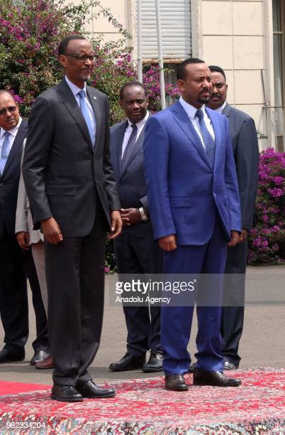 President of Rwanda Paul Kagame is welcomed by Ethiopian Prime Minister Abiy Ahmed with an official welcoming ceremony at National Palace in Addis...